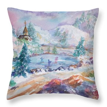 The Skaters Throw Pillow by Ellen Levinson