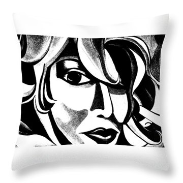 Black And White Abstract Woman Face Art Throw Pillow