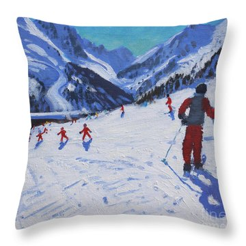 The Ski Instructor Throw Pillow by Andrew Macara