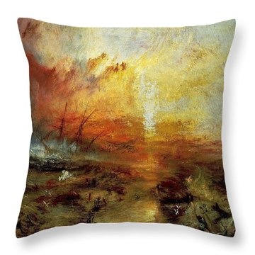 The Slave Ship Throw Pillow by J M W Turner