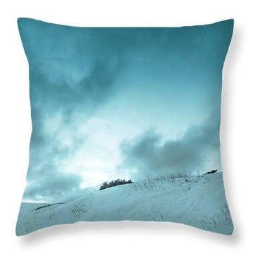 The Sledding Hill Throw Pillow by Mary Amerman