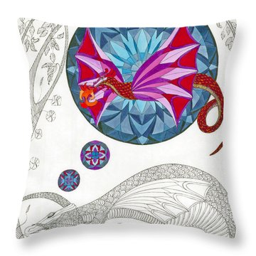 Throw Pillow featuring the drawing The Sleeping Dragon by Dianne Levy