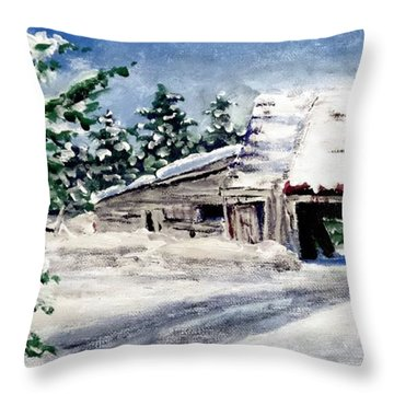 Throw Pillow featuring the painting The Sleigh Barn by Jim Phillips