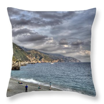 The Small Beach At Monterosso Al Mare Throw Pillow