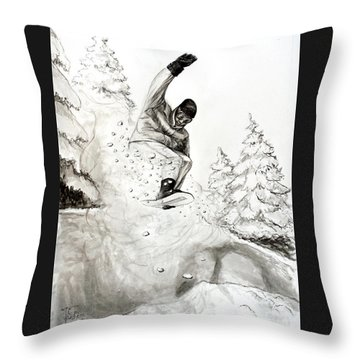 The Snowboarder Throw Pillow