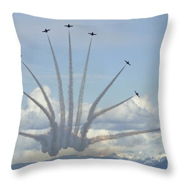 The Snowbirds In High Gear Throw Pillow by Bob Christopher