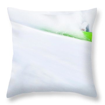 The Snowboarder And The Snow Throw Pillow by Theresa Tahara