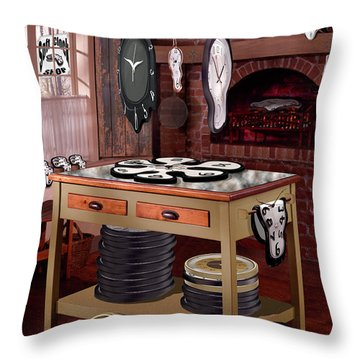 The Soft Clock Shop Throw Pillow by Mike McGlothlen