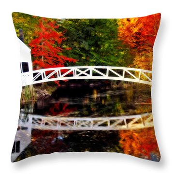 The Somesville Bridge Throw Pillow by Bill Howard