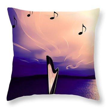 The Sounds Of Sunset Throw Pillow by Eddie Eastwood