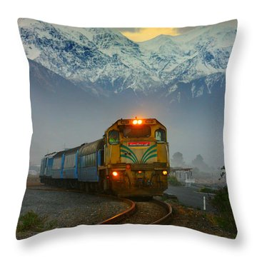 The Southerner Train New Zealand Throw Pillow by Amanda Stadther