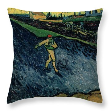 The Sower Throw Pillow by Vincent van Gogh