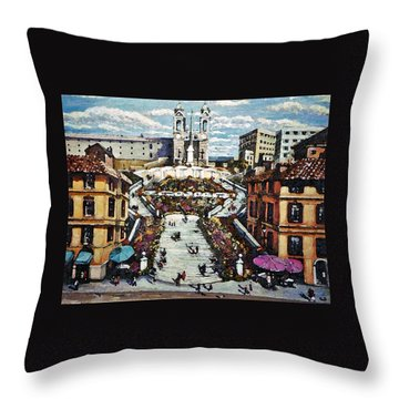 Throw Pillow featuring the painting The Spanish Steps by Rita Brown
