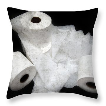The Spare Rolls 3 - Toilet Paper - Bathroom Design - Restroom - Powder Room Throw Pillow by Andee Design