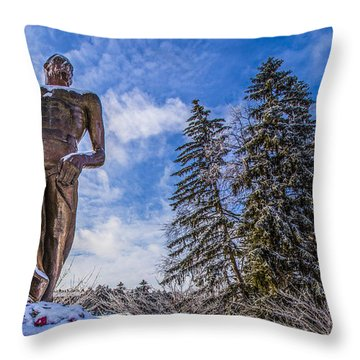 The Spartan Statue With Roses  Throw Pillow by John McGraw