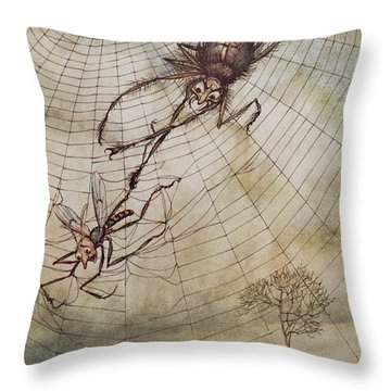 The Spider And The Fly Throw Pillow by Arthur Rackham