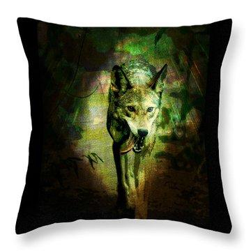 Throw Pillow featuring the digital art The Spirit Of The Wolf by Absinthe Art By Michelle LeAnn Scott