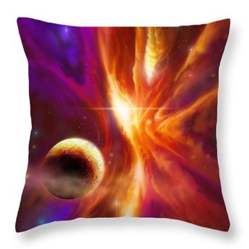 The Spirit Realm Of The Saphire Nebula Throw Pillow by James Christopher Hill