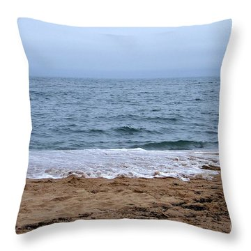 The Splash Over On A Sandy Beach Throw Pillow