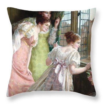 The Squire S Arrival Throw Pillow by Mary E Harding