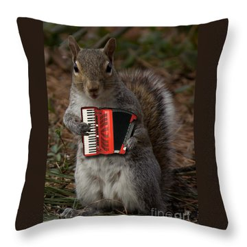 The Squirrel And His Accordion Throw Pillow