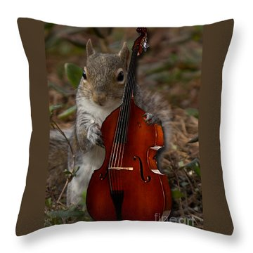 The Squirrel And His Double Bass Throw Pillow
