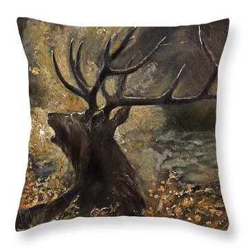 the Stag sitting in the grass oil painting Throw Pillow by Angel  Tarantella