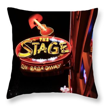 The Stage On Broadway In Nashville Throw Pillow by Dan Sproul