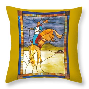 The Stained Glass Cowboy Riding Out The Bucks Throw Pillow by Patricia Keller
