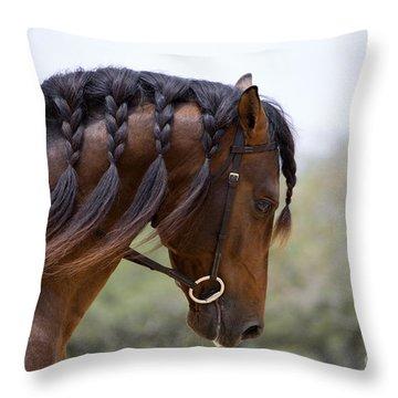 The Stallion's Braided Mane Throw Pillow