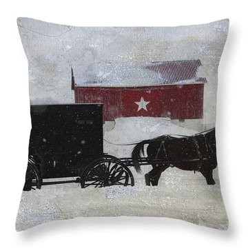 The Star Barn In Winter Throw Pillow