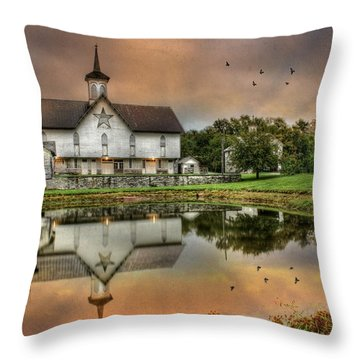 The Star Barn Throw Pillow by Lori Deiter