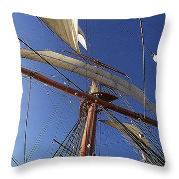 The Star Of India. Mast And Sails Throw Pillow