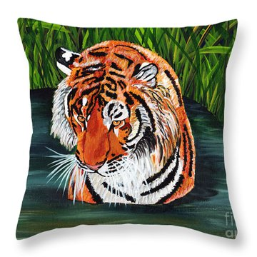 Throw Pillow featuring the painting The Stare by Laura Forde