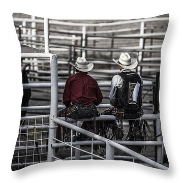 The Stare-off Begins Throw Pillow by Amber Kresge