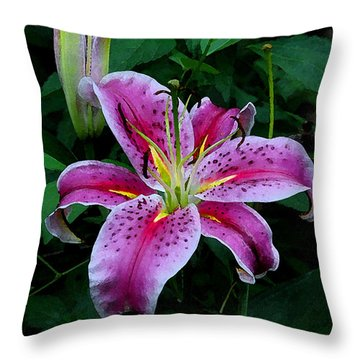 Throw Pillow featuring the photograph The Stargazer Lily  by James C Thomas
