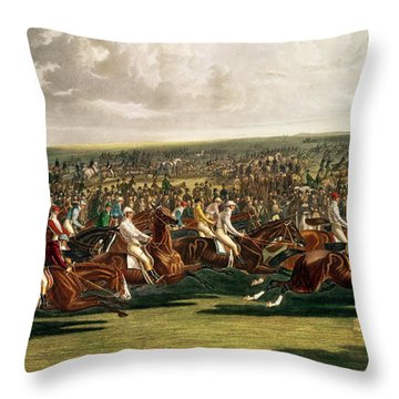 The Start Of The Memorable Derby Of 1844 Throw Pillow by Charles Hunt