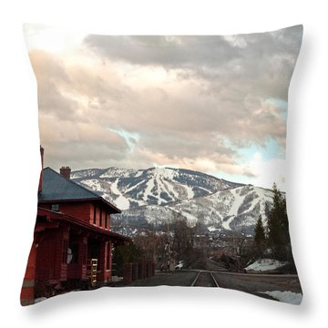 The Steamboat Depot Throw Pillow by Daniel Hebard
