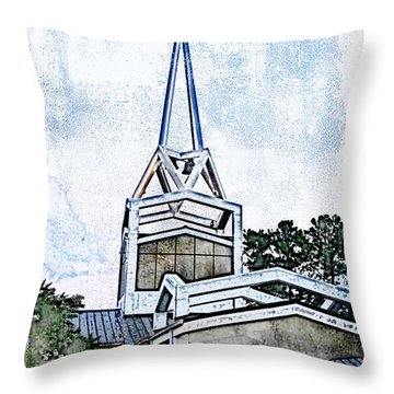 Throw Pillow featuring the digital art The Steeple by Davina Washington
