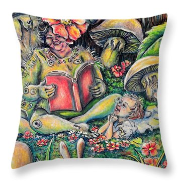 The Story Lady Throw Pillow by Gail Butler