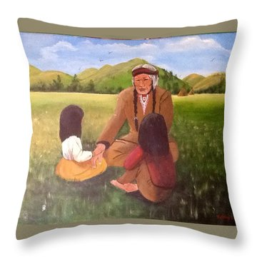 The Story  Teller Throw Pillow by Catherine Swerediuk