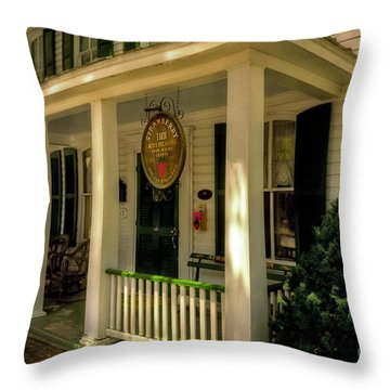 The Strawberry Inn Throw Pillow by Lois Bryan