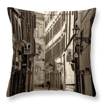 The Street Of Florence 002 Throw Pillow by Nicola Fiscarelli