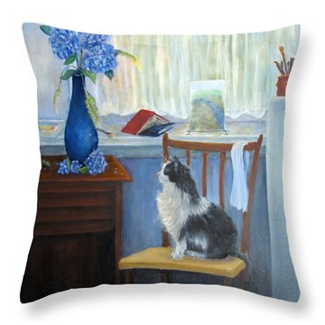 The Studio Cat Throw Pillow by Loretta Luglio