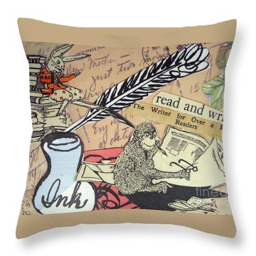 Throw Pillow featuring the drawing The Studious Rabbit And The Monkey by Eloise Schneider