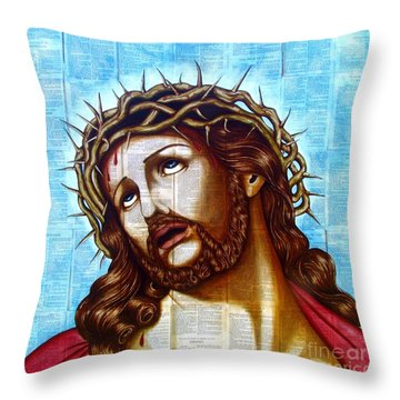 The Suffering Christ Throw Pillow by Joseph Sonday