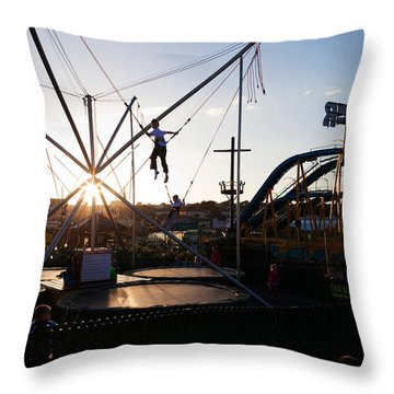 The Summer Fairground, Tramore, County Throw Pillow