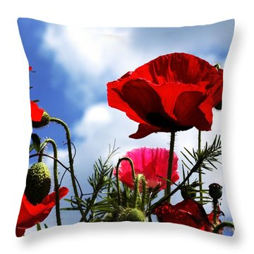 The Summer Poppy Throw Pillow