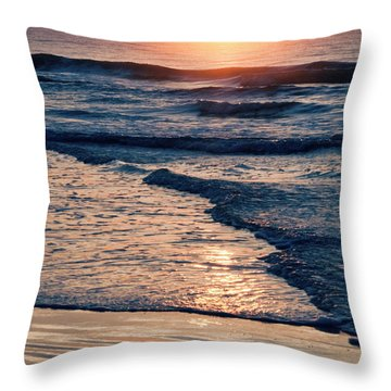 Sun Rising Over The Beach Throw Pillow by Vizual Studio