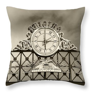 The Sun Orioles Clock - Sepia Throw Pillow by Brian Wallace